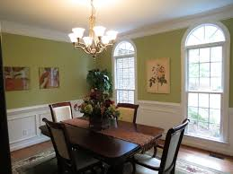 colorful modern dining room. Green And White Wall Color For Dining Room Decorating With Elegant Dark Brown Wood Rectangle Shaped Table That Have Flower Centerpiece Decor Complete Colorful Modern