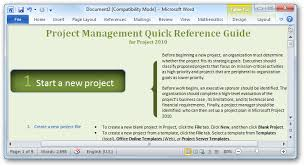 project management quick reference guide getting started with microsoft project 2010