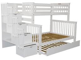 twin over full bunk bed with stairs. Stairway Twin Over Full Bunk Bed White With Trundle Stairs