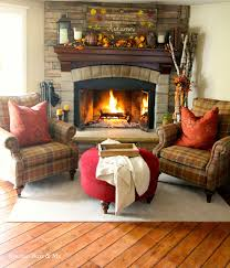 corner stone fireplace with plaid bassett chairs goldenboysandme com