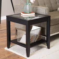 shelby glass top end table with quatrefoil underlay  hayneedle