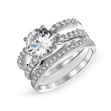 3CT <b>Round</b> Solitaire AAA CZ Pave Stackable Band Guard ...
