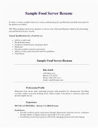 Free Resume Templates For Restaurant Servers Elegant Server Resume