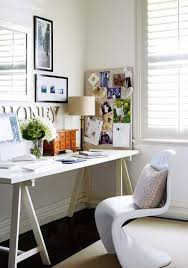 a shapely panton chair and all white palette define this cozy chic space chic office desk