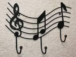 black wavy wrought iron staff wall hook hanger notes treble clef coat rack