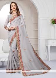 Grey Color Designer Blouse Grey Color Designer Traditional Saree