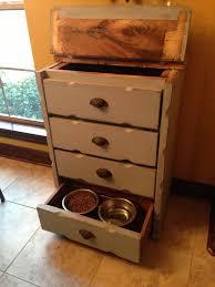 Dresser converted to dog food storage/feeder