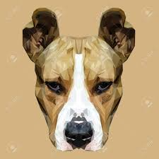 American Staffordshire Terrier Dog Animal Low Poly Design Triangle