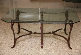 Iron Coffee Tables Rich Hermes Style Faux Leather Wrought Iron Coffee Table For Sale