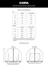 Size Chart Classic Retro Football Jacket Cm Inch Copa