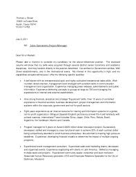 Communications Project Manager Cover Letter Sarahepps Com