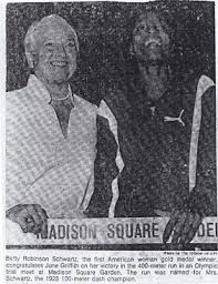 Betty Congratulates June Griffith at Olympic Trial Meet at Madison Square  Garden