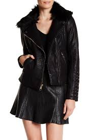 image of guess faux fur collar faux leather moto jacket