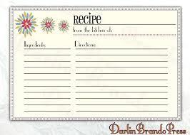 Recipe Paper Template Recipe Card Template 4 X 6 Caseyroberts Co