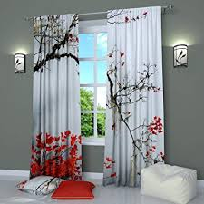 Black and White Curtains Window Panels Print Asian Japanese Style Tree Branch With Red Leaves - Set of 2 - Rod Pocket W84 x L84 inches Drapes for ...