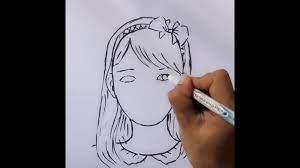 Bé tập vẽ chân dung cô gái 1 - YouTube