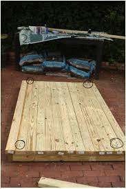 Platform created out of 2x4 wood for an outdoor bed