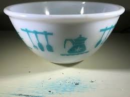vintage hazel atlas milk glass bowl teal blue teapot kitchen aid pattern 8