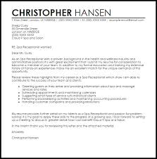 Spa Receptionist Cover Letter Sample Cover Letter Templates Examples