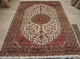 awesome ivory medallion area rug hand knotted wool silk carpet 8 x 6