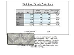 Excel Grade Calculator Template Excel Weighted Grade Calculation Calculator Weights Excel Etsy