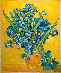 van gogh reion vase with irises with a yellow background
