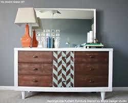 pattern furniture. Midcentury Modern Furniture Makeover Via Dream Green DIY | Herringbone Pattern Stencil By Royal Design O
