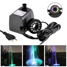 Fountain Lights And Pumps Us 10 88 43 Off Mini Submersible Water Pump With Led Light For Aquariums Koi Fish Pond Underwater Fountain Waterfall Water Pumps Lighting Decor In