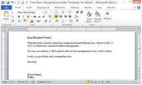 word templates resignation letter free basic resignation letter template for word