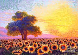 sunflower painting in awe of sunflowers sunset fields by jane small