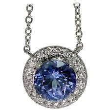 tiffany co soleste tanzanite diamond platinum pendant necklace for