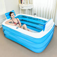couple pvc portable folding inflatable bath tub with air pump for couple bathing intl philippines