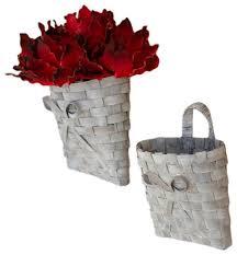 gray wash woven wall baskets hanging