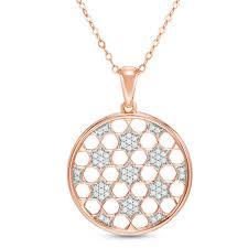 t w diamond star lattice medallion pendant in 10k rose gold