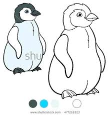 Drawn Penguin Color Pencil And In Coloring Pages Of Baby Penguins