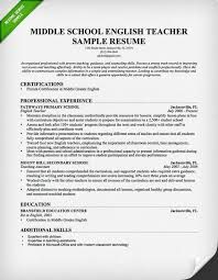 Middle School English Teacher Resume Sample 2015