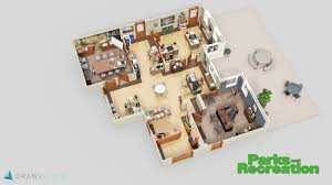 3d office floor plan. Simple Office Parks And Recreation Office 3D Floor Plan  In 3d R