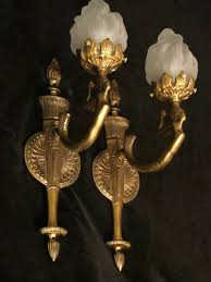 pair of art deco solid bronze wall light sconces with mermaid sculptures by sergio merlin