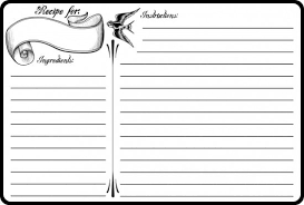 Recipe Paper Template Recipe Card Templates Word Excel Fomats
