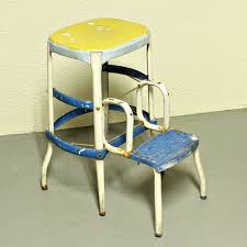 vintage stool step stool kitchen stool cosco chair pull out steps blue yellow white metal