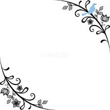 幸せの青い鳥 おしゃれ 角飾りフレーム枠イラスト無料フリー85697