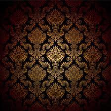 Huayi Yellow Brown Black Fancy Damask Photography Backdrop Luxury