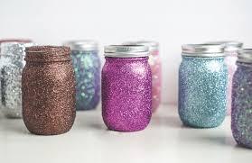 mason jars covered in glitter