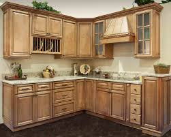 L Shaped Kitchen Cabinet Design Along With White Oak Wood Material