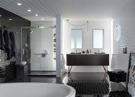 bathroom subway tile. Bathroom With Black And White Subway Tile I