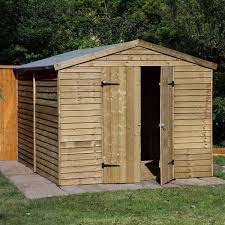 10 x 8 pressure treated windowless wooden overlap apex garden shed