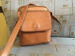 fossil camel color leather crossover purse