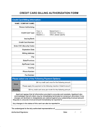 Credit Card Release Form Credit Card Billing Authorization Form Template Word Pdf By