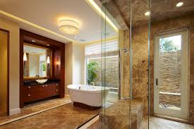 baroque flush mount chandelier in bathroom contemporary with waterfall shower next to bathroom sconce alongside cove ceiling and florida patio enclosure ceiling wall shower lighting