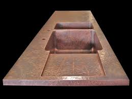 custom copper countertop with integrated sink